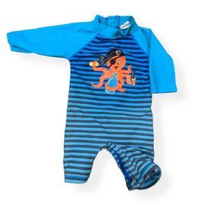 Blue striped long sleeve rash guard swimsuit